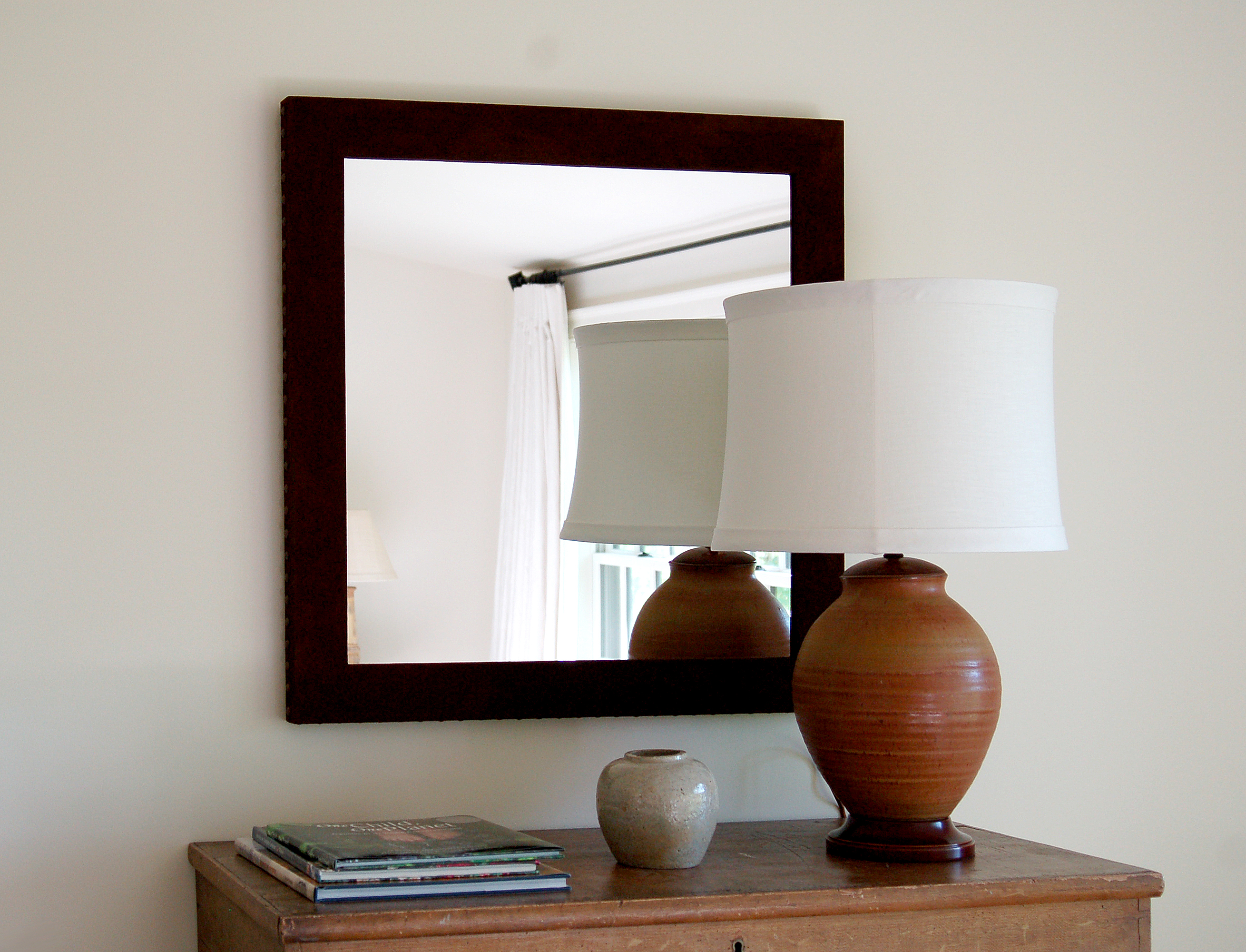 Mirror over buffet table